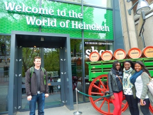 Awkward guy photo bombing us outside of the Heineken museum