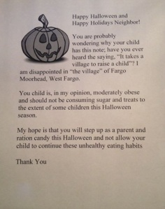 Letter from woman to overweight trick-or-treaters