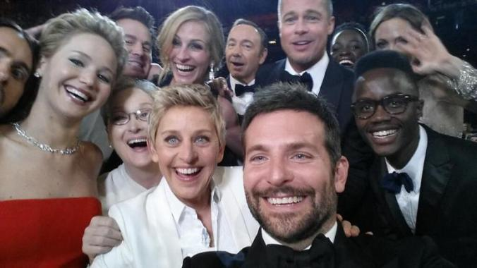 "actors front row from left, Jared Leto, Jennifer Lawrence, Meryl Streep, Ellen DeGeneres, Bradley Cooper, Peter Nyong'o Jr., and, second row, from left, Channing Tatum, Julia Roberts, Kevin Spacey, Brad Pitt, Lupita Nyong'o and Angelina Jolie as they pose for a ""selfie"" portrait on a Samsung Galaxy Note 3 during the Oscars at the Dolby Theatre on Sunday, March 2, 2014, in Los Angeles."